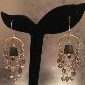 Dangle Earrings With Chains And Beads